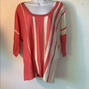 Ella Moss Striped Scoop Neck Sweater sz L